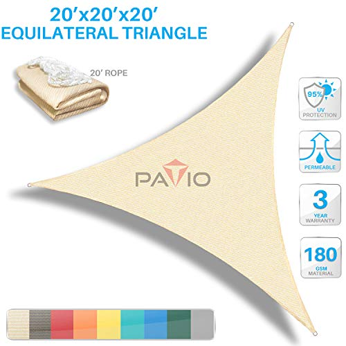 Patio Paradise 20' x20'x 20' Beige Sun Shade Sail Triangle Canopy - Permeable UV Block Fabric...