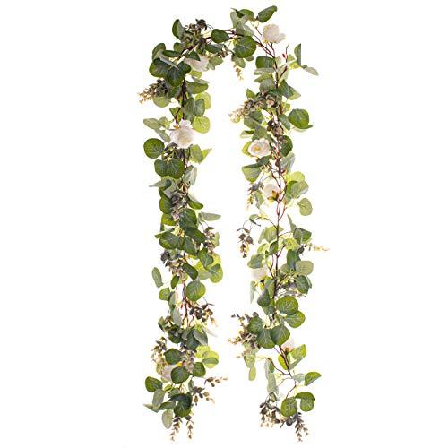 Eucalyptus Garland 6.5 feet/Green Leaves with White Flowers/Kitchen Wall Decor/Kitchen Decor/Greenery/Artificial/Fake/Bulk/Wedding/Vine/Faux/Rustic