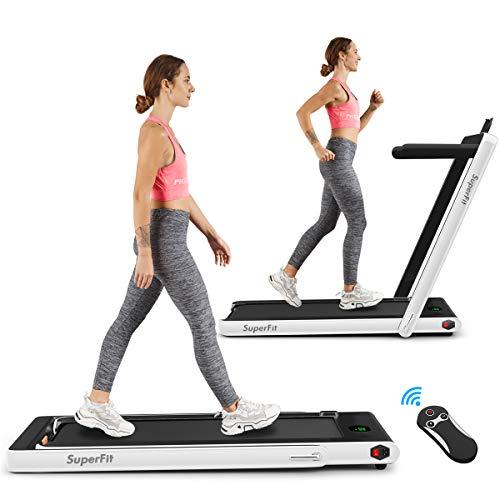 Goplus 2 in 1 Folding Treadmill, 2.25HP Under Desk Electric Treadmill, Installation-Free...