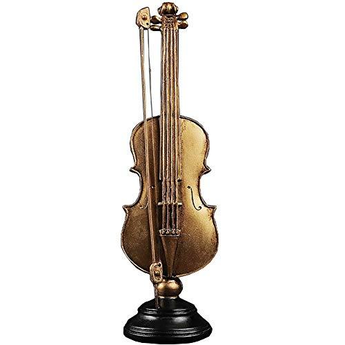LIUSHI Escultura de Instrumento Musical de Resina de Ornamento de Estatua de violín, Regalo de Arte de decoración de Escritorio para el hogar, Oro