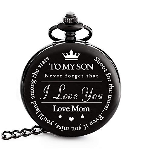 Pocket Watch – Engraved 'To My Son Love Mom'