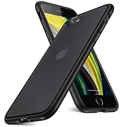 Humixx iPhone SE 2020 Hülle, iPhone 8 Hülle, iPhone 7 Hülle, [Military Grade Drop Tested], Transluzent Matte Schutzhülle mit Silikon Bumper, Stoßfest Handyhülle für iPhone 8/7/SE 2020 -Schwarz
