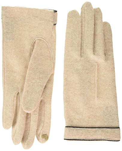 Roeckl Damen Cut & Sewn Leather Piping Handschuhe, Elfenbein (Creme 115), 7.5