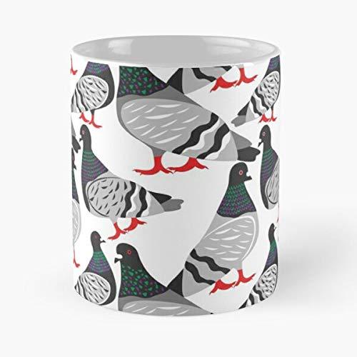Taza de café de cerámica con diseño de paloma de pájaros y pájaros, diseño de animales de la naturaleza, come alimentos mordedura John Best 11 onzas