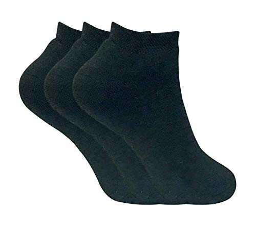3 Pairs Ladies Thick Winter Warm Cushioned Coloured Low Cut Ankle Short Thermal Trainer Socks (4-7 uk, Black)