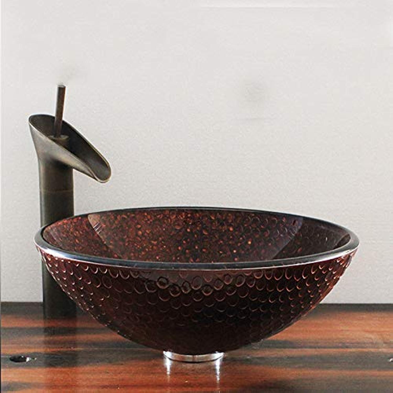 SHUICAO Vintage Künstlerische Gehrtetem Glas Bad Gef Waschbecken, Runde Top Waschbecken Mit Bronze Wasserhahn Ablass Combo Set