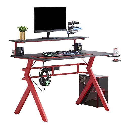 "HOMYSHOPY Computer Gaming Desks, 2-Tired Gamer Desk with 47.2 inch TV Stand, Cup & Game Controller Holder, Headphone Hook and Voice Box Storage (47.2"" x 26.8"")"
