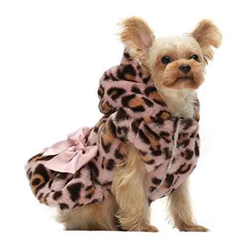 Fitwarm Fluffy Faux Fur Leopard Dog Coats Pet Jackets Cat Winter Clothes...