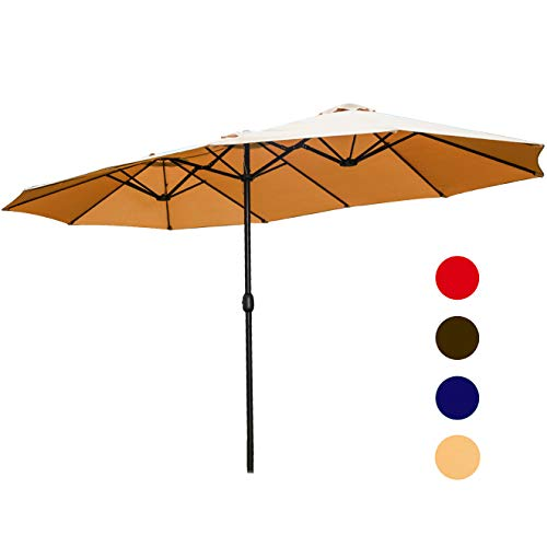 LOKATSE HOME Double-Sided Market Patio Outdoor Umbrella, 15 Feet Garden Aluminum Umbrella Twin Sun Canopy Umbrella with Crank (Khaki)
