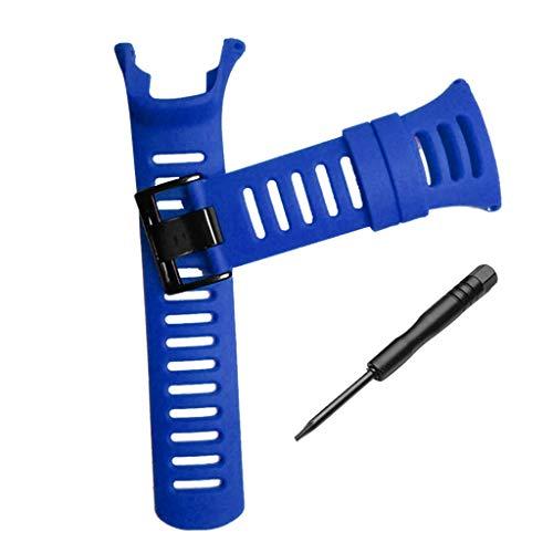 Anjuley - Correa de Reloj de Goma Flexible de Repuesto para SUUNTO Ambit 1 2 3 4 Peak 2R 2S 3S 3R Zafiro, Color Azul