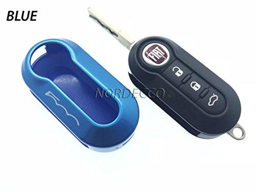 Protex Coque de protection brillante pour clé de voiture Fiat 500 C 500–500 L 500 X Abarth Grande Punto Panda Stilo Linea (bleu)