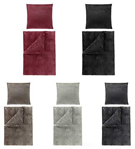 BaSaTex Winter Uni Cashmere Touch Bettwäsche, ähnlich Nicky, Teddy, Corals Fleece, in 5 Farben und verschiedenen Größen 2tlg Set 135x200 cm Grau