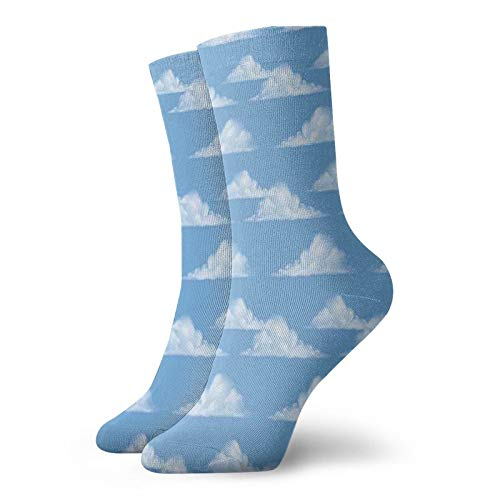 FULIYA Unisex adult printed sports socks,Big Puffy Ball Cumulus Floating On Clear Sky Repeating Pattern,Men's and Women's street casual sports socks