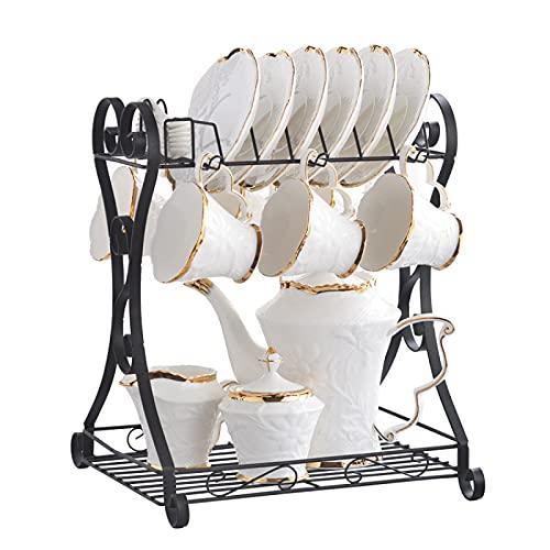 ErZhuiZi 15 Piezas Juegos de Té de Porcelana Servicio de Café de 6, con Tetera de Porcelana China, Azucarero, Jarra de Crema, Cucharas y Soporte de Metal