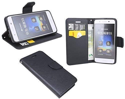 ENERGMiX Buchtasche kompatibel mit Huawei GR3 Hülle Case Tasche Wallet BookStyle mit Standfunktion in Schwarz