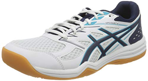 ASICS Mens Upcourt 4 Volleyball Shoe, White/Peacoat,47 EU