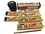 Grinder a hierbas – Lote de 4 paquetes de hojas de liar King Size Slim + 2 paquetes de filtros de cartón, rodillo de 110 mm + triturador de bambú – Kit completo.