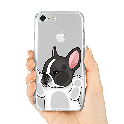 French Bulldog Phone Case Compatible with iPhone 7/8 / SE 2020,Soft TPU Silicone Slim Transparent Protective Case for iPhone 7/8 / SE 2020,Gift for Women Girls