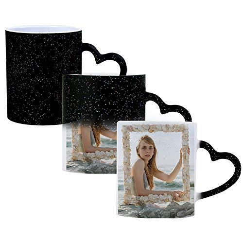 DEABOLAR Magische Benutzerdefinierte Foto Farbwechsel Kaffeetasse, Personalisierte DIY-Druck Keramik Farbwechsel Tasse - fügen Sie Ihre Fotos und Text (schwarz, Fotoeffekt)