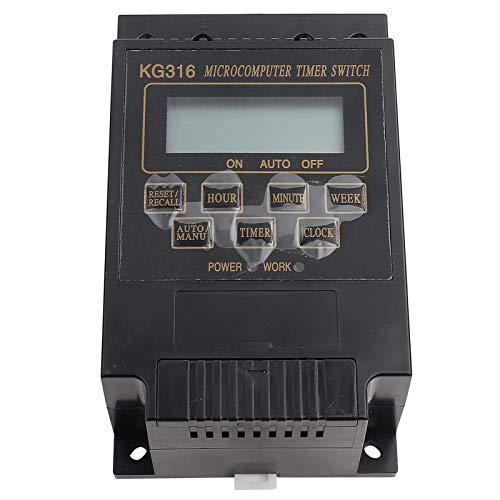 Interruptor de tiempo de microordenador con pantalla digital LCD, controlador de temporizador de 10 encendido/apagado (negro)(AC110V)