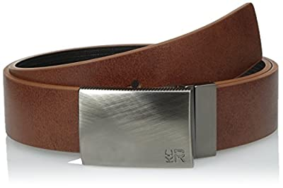 Kenneth Cole REACTION Men's 1 1/4 in. Reversible Plaque Belt With Textured Strap,Tan/Black,34