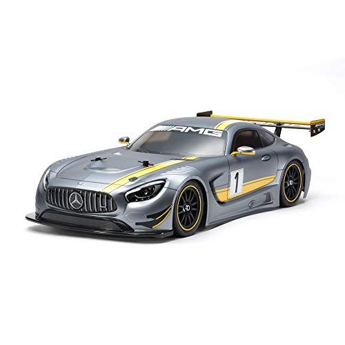 Tamiya 58639 1:10 Mercedes AMG GT3 (TT-02) – Kit di montaggio per auto elettrico radiocomandato (RC) modello Veicolo fuoristrada in policarbonato, carrozzeria, non verniciato, 58639