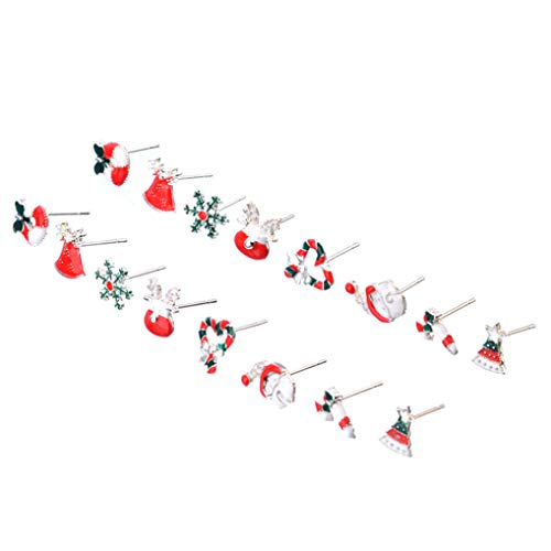 Timesuper 8 Pairs Cute Christmas Stud Earrings Set for Women Girls Santa Claus Snowflake Garland Jewelry
