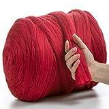 MeriWoolArt - Lana de merino 100 % para punto y ganchillo con hilo de 4-5 cm de grosor, lana de merino gruesa para bufanda, manta y cojín XXL, rojo, 4,5Kg Rolle