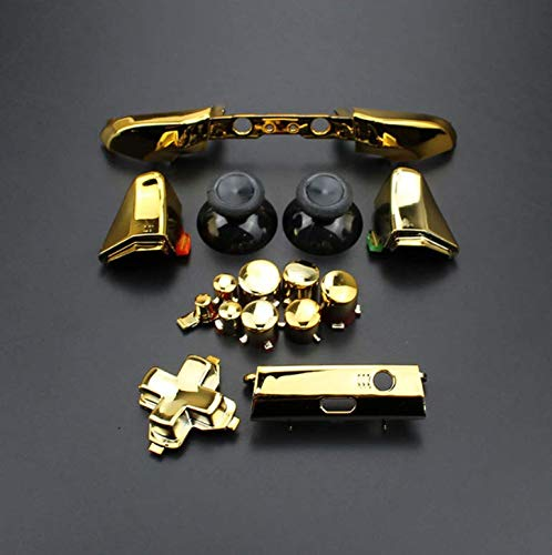 RB LB Bumper RT LT Trigger Buttons Mod Kit for Xbox One S Slim Controller Analog Stick Dpad Solid &Chorme (Chrome Gold)
