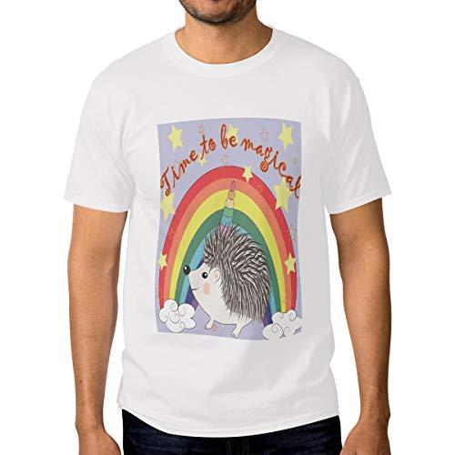 Ahomy - Camiseta de manga corta para hombre, 100% algodón, diseño de erizo, unicornio arcoíris, con personalidad, para parejas Multi5. XXL