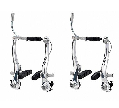 2x Frenos Puente V Brake ALHONGA de Aluminio Plata para Bicicleta Zapatas...