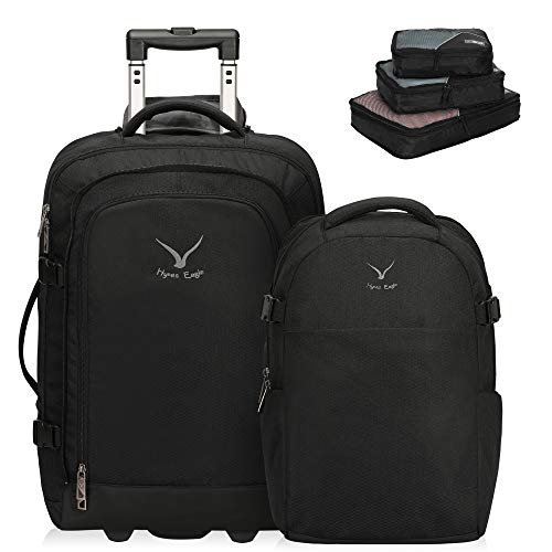 """Hynes Eagle 2 in 1 Travel Backpack 22"""" Carry on Luggage 63L Rolling Wheeled Backpack with Packing Cubes 3pcs"""