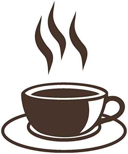 Samunshi® Wandtattoo Kaffeetasse Teetasse Küche in 6 Größen und 19 Farben (8,2x10cm braun)