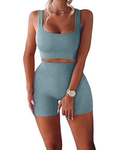 FAFOFA Womens Yoga Pants Bodycon 2 Piece Outfits Sport Bra High Waist Booty Shorts Blue S