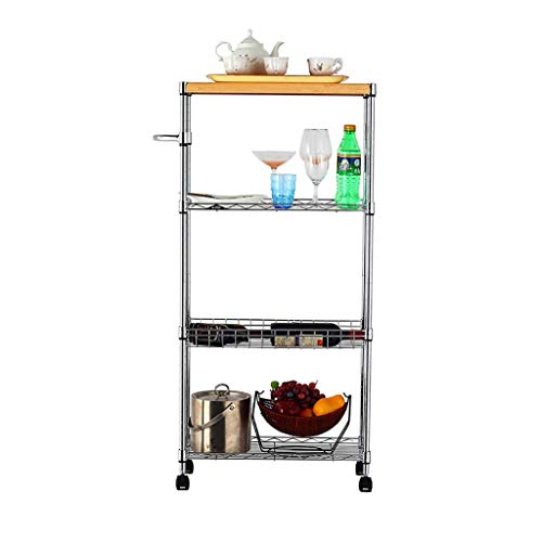 WEI-LUONG Bar Kitchen Shelf Cart 4-Layer Storage Rack Household Wheeled Corner Refrigerator Crevice Storage Rack Shelf (Specification: 120 25 60CM) Kitchen