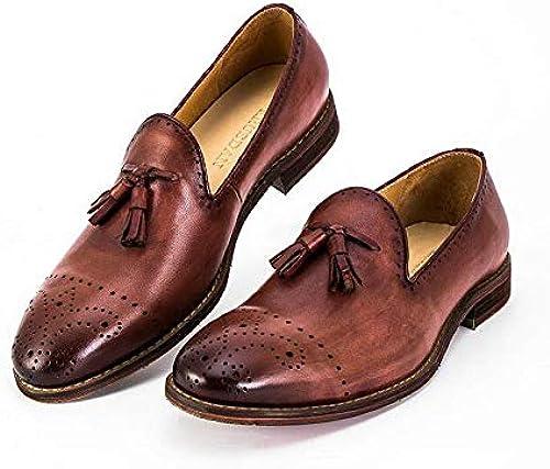 Ruanyi Mocasines de Cuero Genuino Mocasines Bullock zapatos Bordados Tallados Marca Oxford Hechos a Mano zapatos para hombres (Color   marrón, Talla   43-EU)