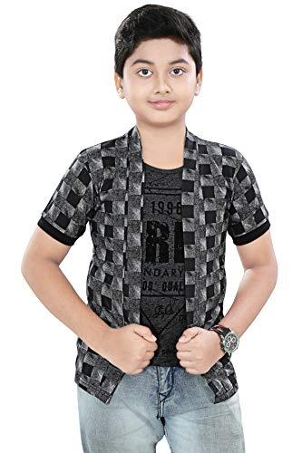 SDS Fashion Boy's Half Sleeve Cotton Grey Printed Round Neck T-Shirt with Checked Jacket Shrug and Black Ribs Look Smart and Comfortable for Any Casual and Festive Purpose