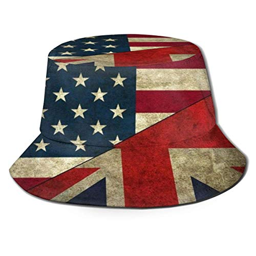 Beyond Loser Bucket Hat,Fishing Hat British American Flag Soft Cotton & Polyester Fabric Unisex Wide Sun Cap Windproof for Hiking Camping Traveling Fishing