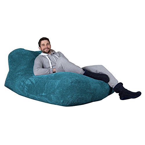Lounge Pug - Pom Pom - DOUBLE Day Bed - CHAISE Lounge - Huge Adult Bean Bag - Beanbag - AEGEAN BLUE