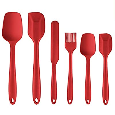 Silicone Spatula, 6 Piece Non-scratch Heat Resistant Rubber Spatula with Stainless Steel Core, Non Stick and Great Grips Spatulas for Cooking, Baking and Mixing (Red)