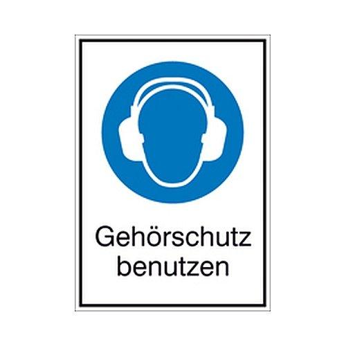 Bord Gehoorbescherming gebruiken Gecombineerde tekens/Bod Grootte: 13,1 x 18,5cm Alu