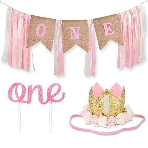 1st Birthday Girl Decorations WITH Crown - 1 Year Old Baby First Birthday Decorations Girl - Princess Theme Cake Smash Party Supplies - ONE High Chair Banner, Cake Topper, No.1 Flower Crown (Updated)