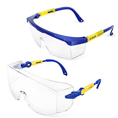 S&R 2 Paia Occhiali Protettivi Sicurezza Lavoro con Protezione Laterale. Lenti in Policarbinato anti-UV. Occhiali Resistenti e Leggeri.