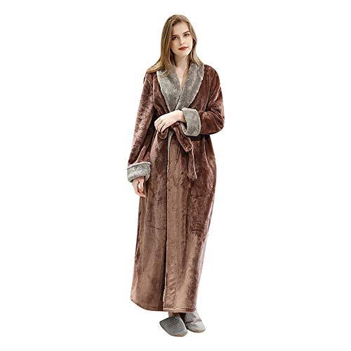 Albornoz cálidos en Invierno para Mujer Largo Pijama Espesado Terciopelo de Coral Bata de baño Mujeres Moda Casual Espesar Coral Fleece Robe con Bolsillo 172