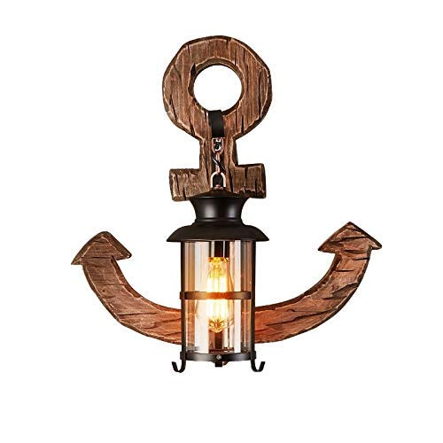 American Retro Industrial Loft Wall Lamp Creative Personality Decoration Living Room Coffee Restaurant Bar Solid Wood Art Boat Anchor Wrought Iron Wall Light Sconce
