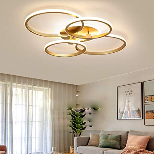 Schlafzimmerlampe LED Dimmbar Wohnzimmer Deckenleuchte Modern Rund Ring Esstisch Design Deckenlampe LED Mit Fernbedienung Büro Deko Pendellampe für Flur Esszimmer Wohnungen Decke Leuchten Gold