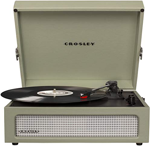 Crosley CR8017A-SA Voyager Vintage Portable Turntable with Bluetooth Receiver and Built-in Speakers, Sage