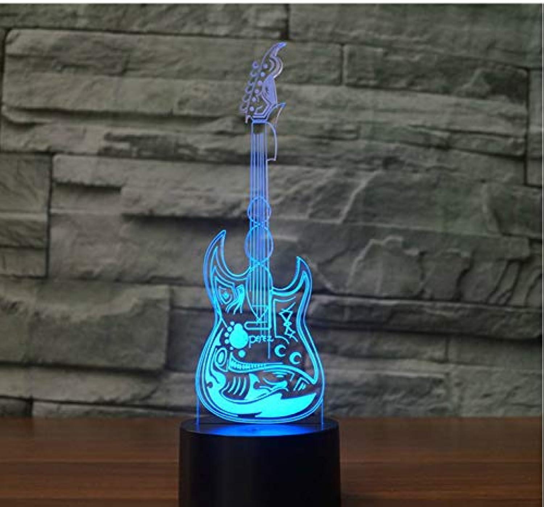 Entrega directa y rápida de fábrica Led 3D Light Guitarra Eléctrica Efecto Bajo Bajo Bajo Modelo Ilusión Lámpara 3D Led 7 Color Usb Touch Sensor Luz de Escritorio Luz Nocturna Música Amante Regaños  venta con descuento