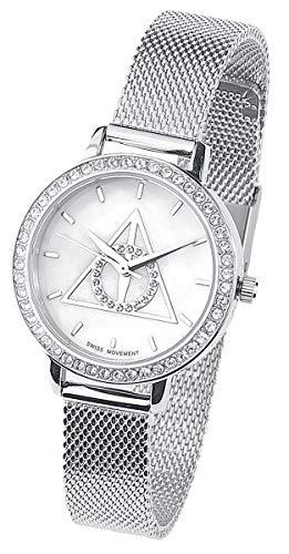 HARRY POTTER Deathly Hallows Mujer Relojes Plateado, En Plata de Primera Ley,