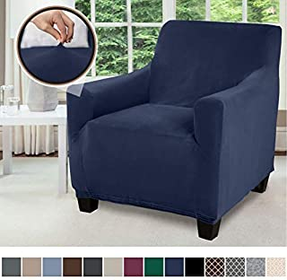 Gorilla Grip Original Fitted Velvet 1 Piece Chair Protector for Seat Width up to 23 Inch, Stretchy Furniture Slipcover, Fastener Straps, Spandex Chair Cover Throw for Pets, Dogs, Armchair, Navy Blue